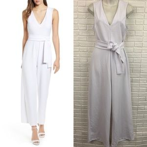 Leith white v-neck belted tie waist jumpsuit